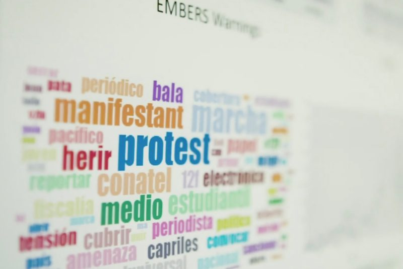 research poster focused on big data featuring a tag cloud of popular terms in the data